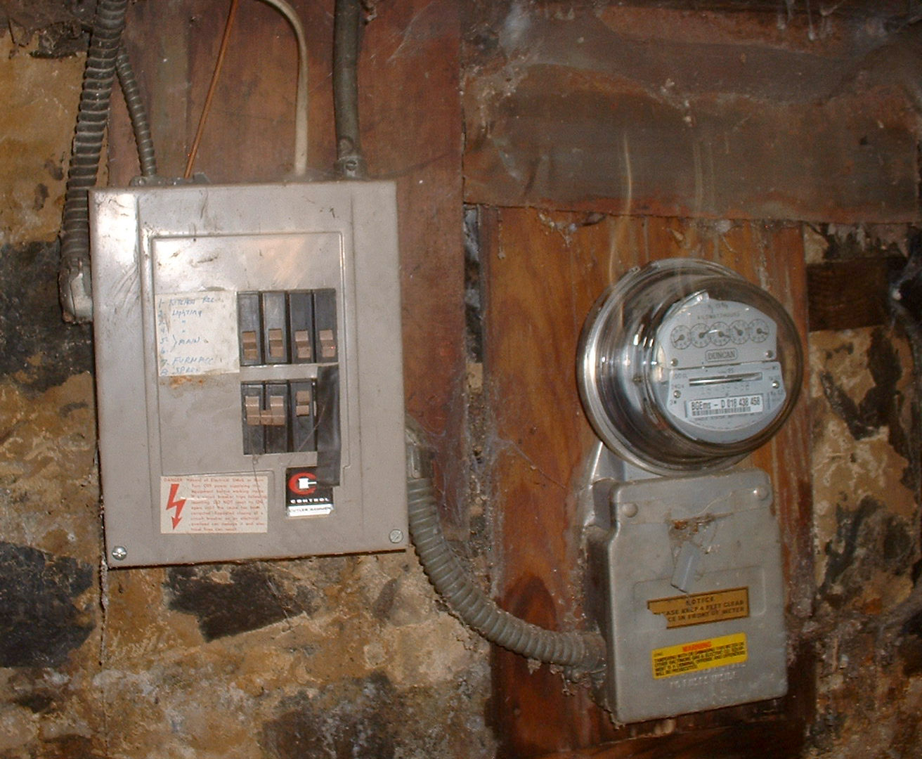 basement water heater and furnace electric box is circuit breakers